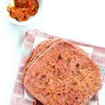 Beetroot Paratha - Beet flatbread Stuffed with Split Peas. Easy Pink flatbread stuffed with spiced split peas or chickpeas. Vegan Recipe. | VeganRicha.com #vegan #glutenfree #veganricha