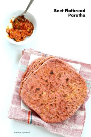 Beetroot Paratha - Beet flatbread Stuffed with Split Peas. Easy Pink flatbread stuffed with spiced split peas or chickpeas. Vegan Recipe. | VeganRicha.com #vegan #glutenfree #veganricha