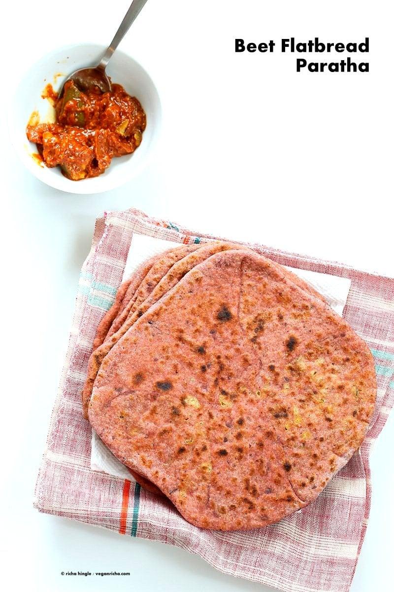 Beetroot Paratha - Beet flatbread Stuffed with Split Peas. Easy Pink flatbread stuffed with spiced split peas or chickpeas. Beet Pure, Aquafab, flour make the flatbread Paratha. Vegan Yeast-free flatbread Recipe | VeganRicha.com
