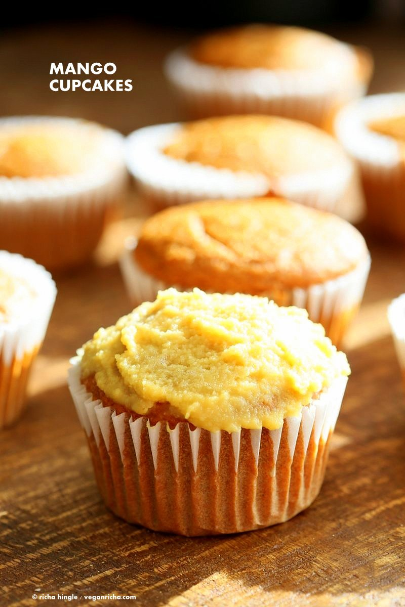 One Bowl Vegan Mango Cupcakes. Easy Mango Cupcake or Cake Recipe. Whisk up the dry ingredients. Add in mango puree and bake. Easy tropical cupcakes. Frost with frosting of choice. Vegan Recipe | VeganRicha.com