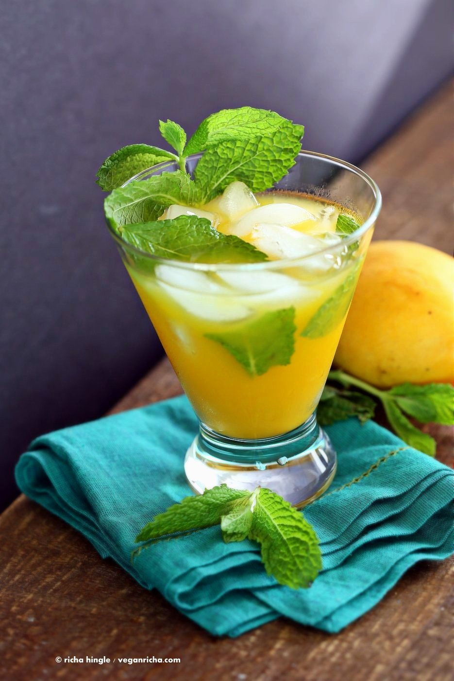 Easy Refreshing Mango Mojito Recipe. Make this mojito with or without the alcohol. Refreshing mint and lime and sweet Summery Mango make this a perfect drink for any outdoor event. Vegan Recipe   VeganRicha.com
