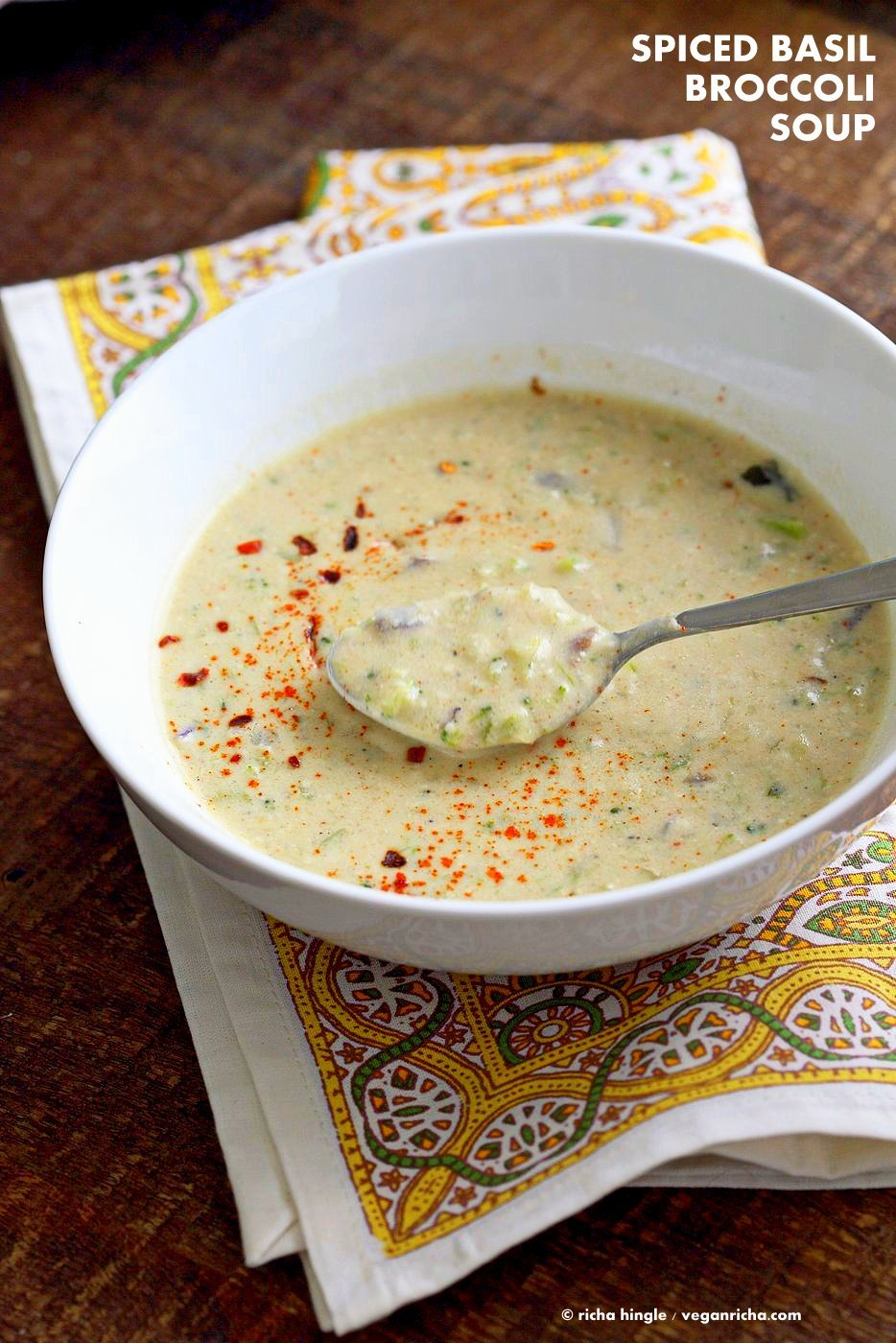 Easy Spiced Creamy Broccoli Soup. Shredded broccoli cooked with spices, basil and a creamy cashew sauce. Vegan Gluten-free Recipe. | VeganRicha.com #vegan #glutenfree #veganricha