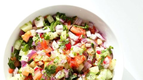 Kachumber Salad - Cucumber Tomato Onion Salad Recipe - Vegan Richa