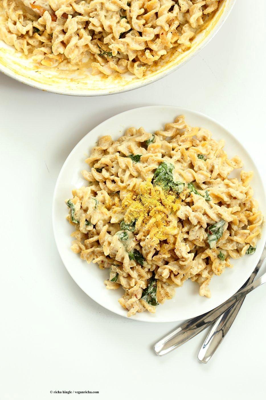 Pumpkin Seed Alfredo Fusilli. Nut-free Vegan Alfredo Recipe. Easy cashew free alfredo sauce with pasta. Vegan Recipe | VeganRicha.com