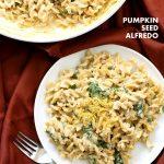 Pumpkin Seed Alfredo Fusilli. Nut-free Vegan Alfredo Recipe. Easy cashew free alfredo sauce with pasta. Vegan Recipe | VeganRicha.com #vegan #glutenfree #veganricha