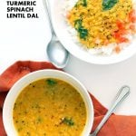 Turmeric Spinach Lentil Dal - Red Lentil Soup. Easy Lentil Soup with turmeric and greens. No garlic no onion Dhal. Golden Lentil Dal. Vegan Gluten-free Soy-free Recipe.| VeganRicha.com #vegan #glutenfree #veganricha