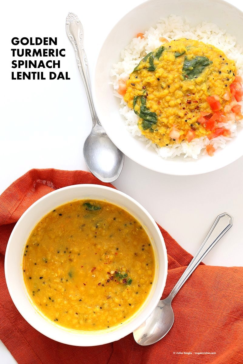 Turmeric Spinach Golden Lentil Dal - Red Lentil Soup. Easy Lentil Soup with turmeric and greens. No garlic no onion Dhal. Golden Lentil Dal. Vegan Gluten-free Soy-free Recipe.| VeganRicha.com