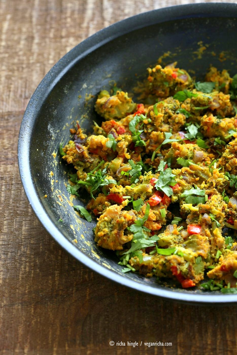 Broccoli Zunka Recipe - Broccoli & Bell Pepper with Spices, Chickpea flour. Broccoli Subzi Indian Veggie Side Recipe. Use spices of choice. Vegan Gluten-free Soy-free Recipe | VeganRicha.com