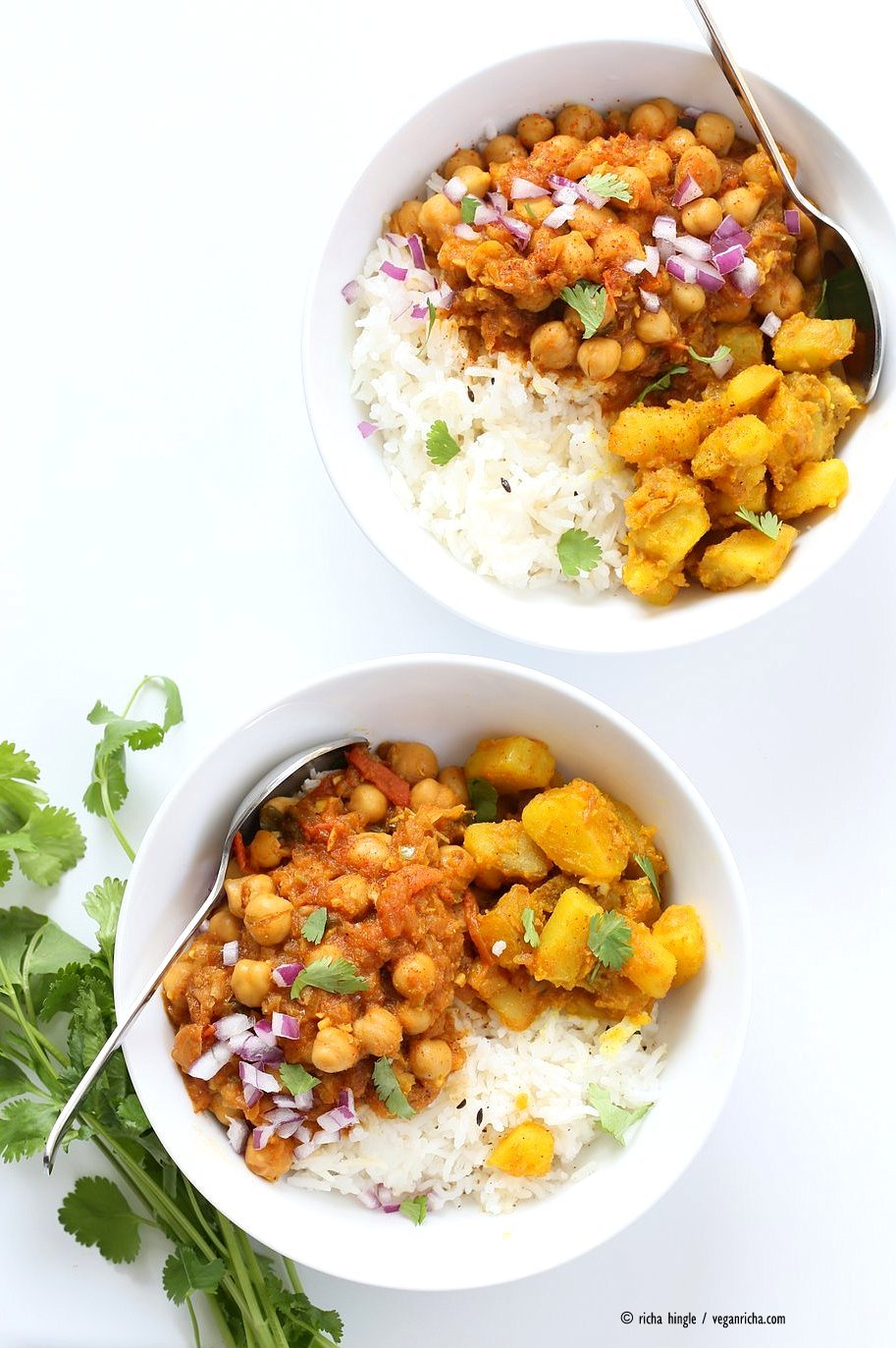 Easy Chickpea Curry Spiced Potato Bowl. Quick Chickpea Curry served with rice or cooked grains and 5 ingredient Spiced Potatoes. Vegan Gluten-free Soy-free Recipe | VeganRicha.com