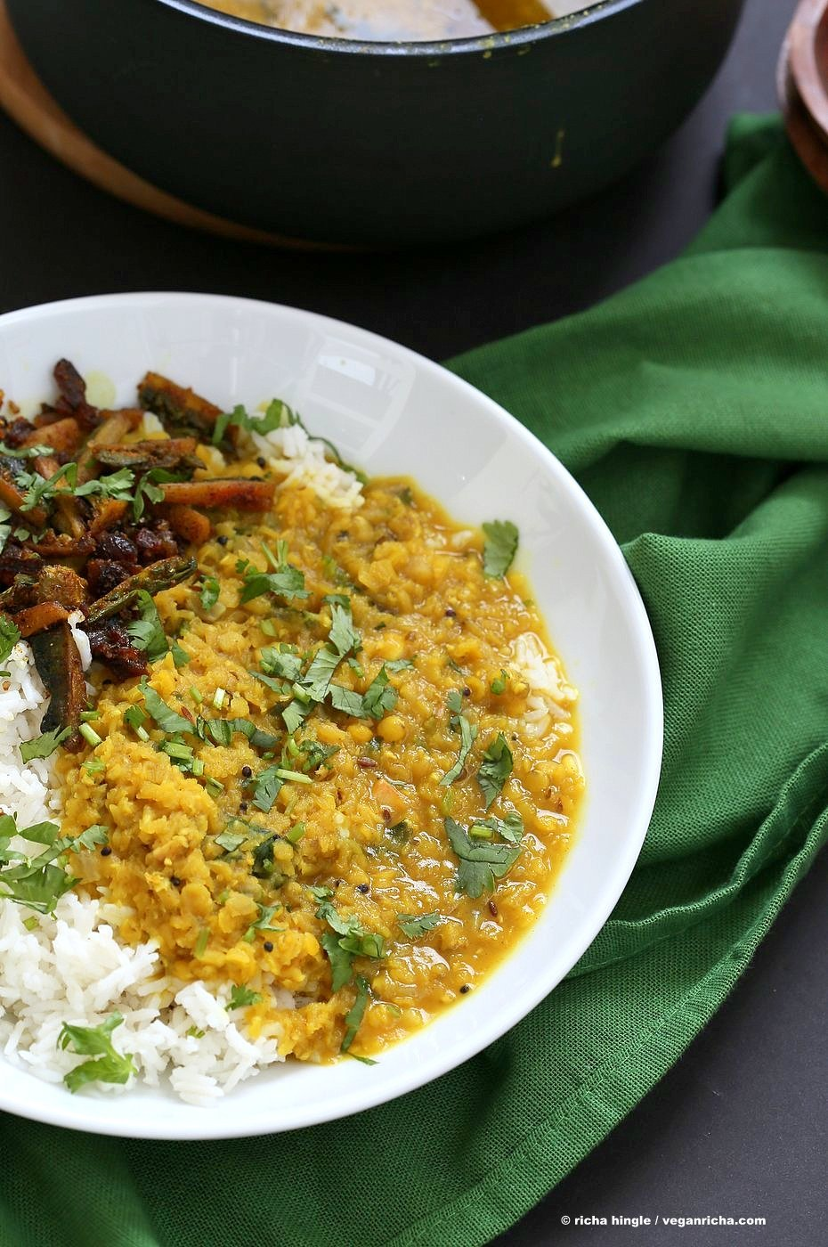 Punjabi Dal Fry Recipe. Easy Dal Fry with whole spices and garam masala. Lentil Dhal. Or use split peas. Vegan Gluten-free Soy-free Indian Recipe. | VeganRicha.com