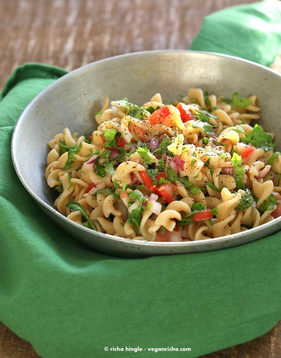 Tabbouleh Pasta Salad. Parsley, tomatoes, fusilli pasta dressed with olive oil, salt, pepper and lemon. Fresh Summer Salad. Vegan Soy-free Recipe. Can be made gluten-free with gf pasta.   VeganRicha.com