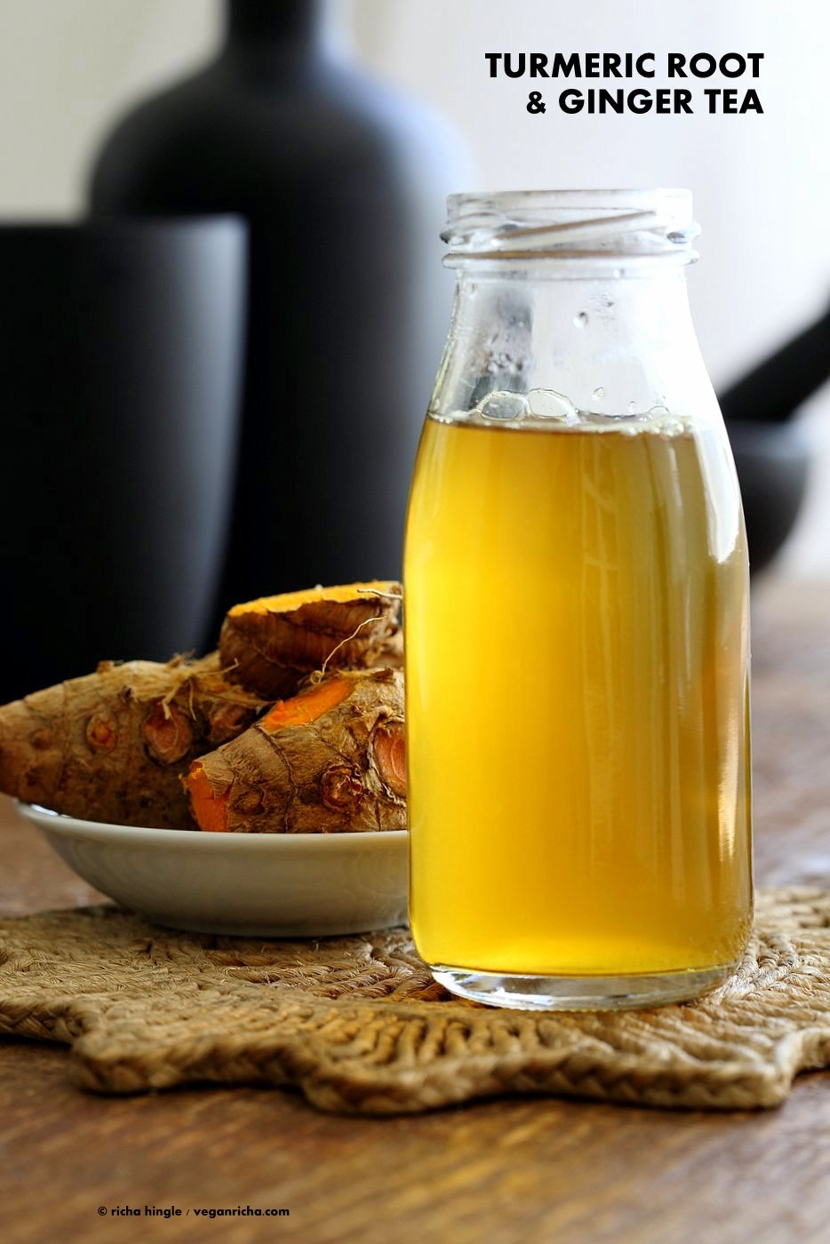 Ginger Turmeric Root Tea. Fresh Turmeric Root and ginger simmered with black pepper to make a soothing healing turmeric tonic. Add sweetener of choice. Serve hot or chilled. Vegan Gluten-free Recipe | VeganRicha.com