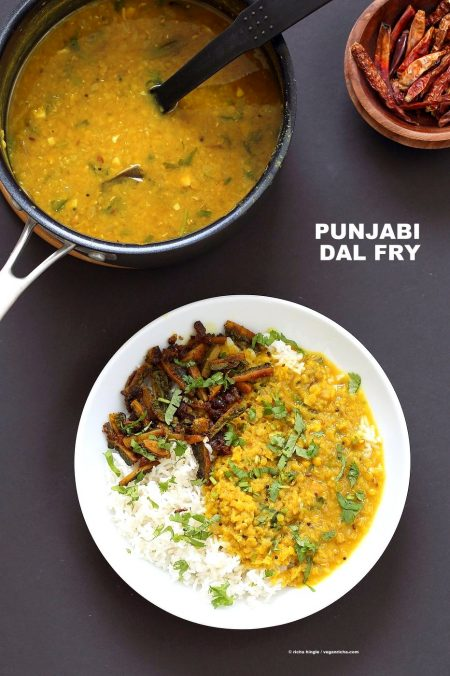 Punjabi Dal Fry Recipe. Easy Dal Fry with whole spices and garam masala. Lentil Dhal. Or use split peas. Vegan Gluten-free Soy-free Indian Recipe. | VeganRicha.com #glutenfree #veganricha #vegan