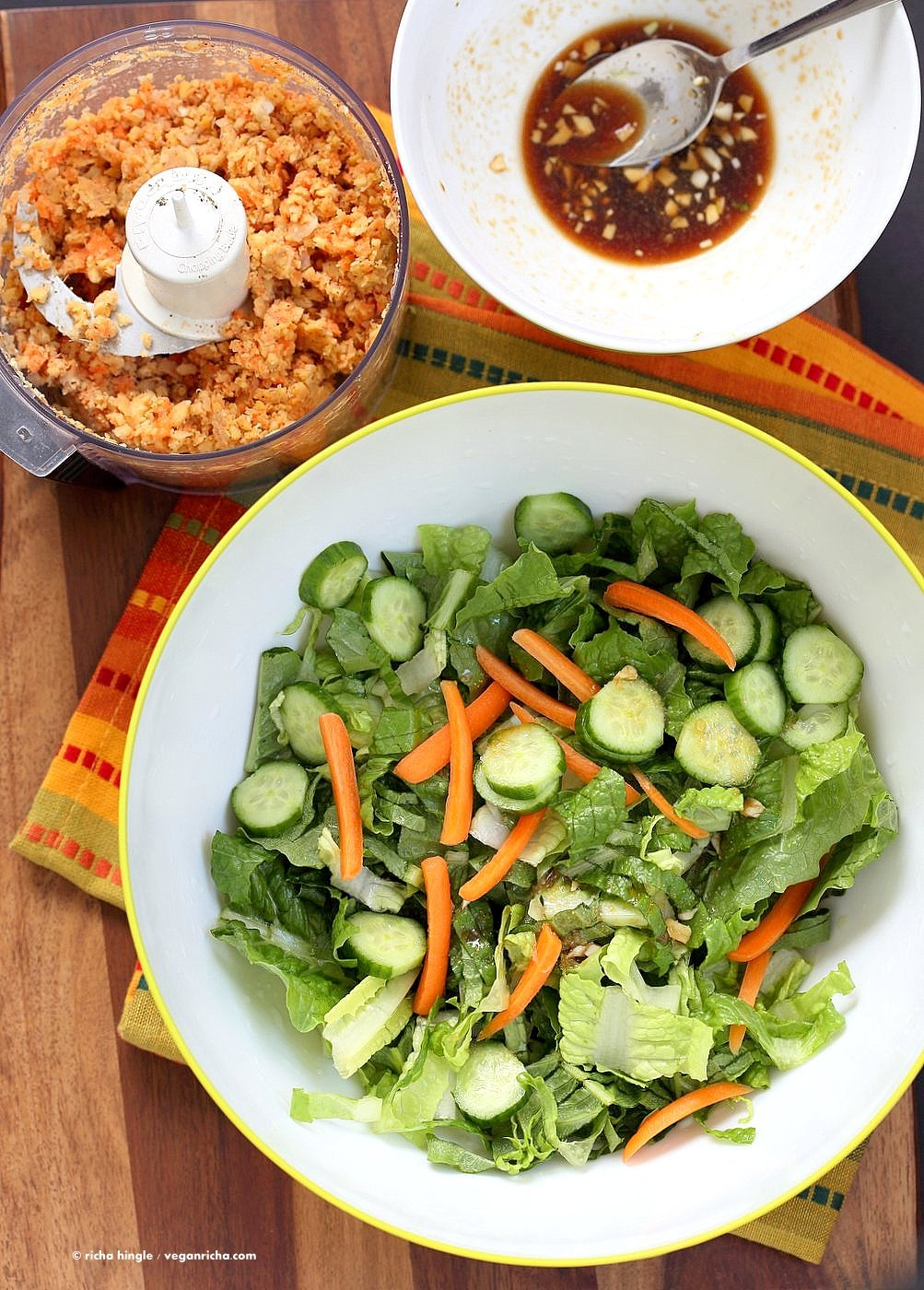 Thai Salad with Chickpea Carrot Crumble & Garlic Sesame Soy Sauce Dressing. Crunchy Summer Salad with Ginger Chickpea Carrot crumble and garlicky dressing. Use lentils for variation. Add roasted peanut or other nuts. Vegan Gluten-free Recipe | VeganRicha.com