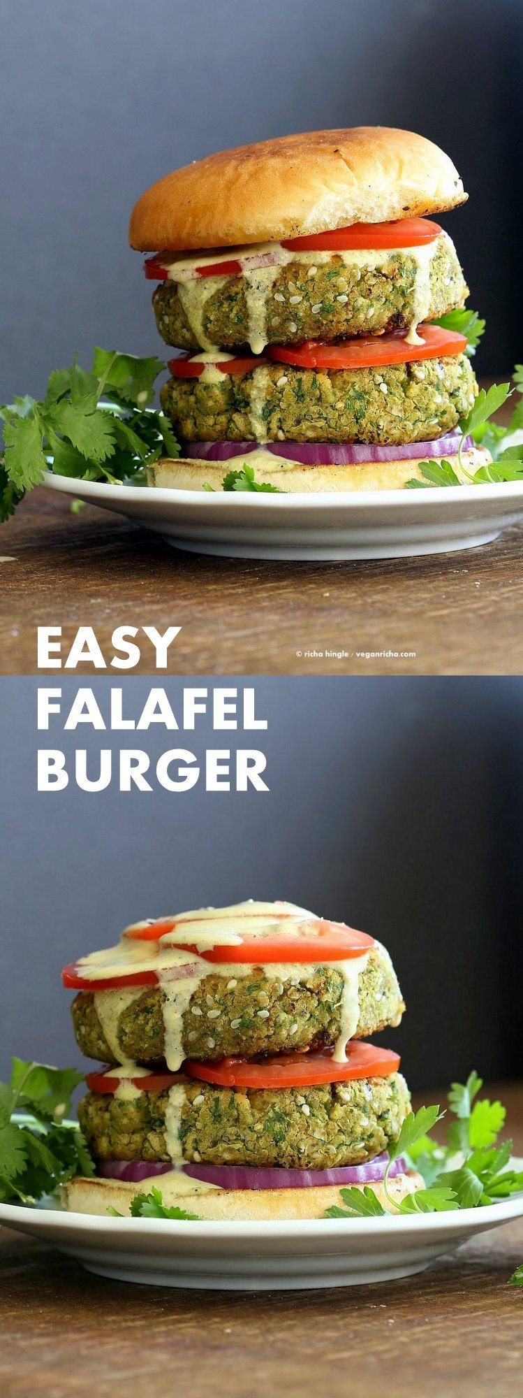 Easy Vegan Falafel Burger. Chickpea patties with 5 minute tahini dressing, tomatoes, onions, pickles make for a filling and flavorful burger. #Vegan #Soyfree #nutfree #Recipe. Can be made #glutenfree | VeganRicha.com