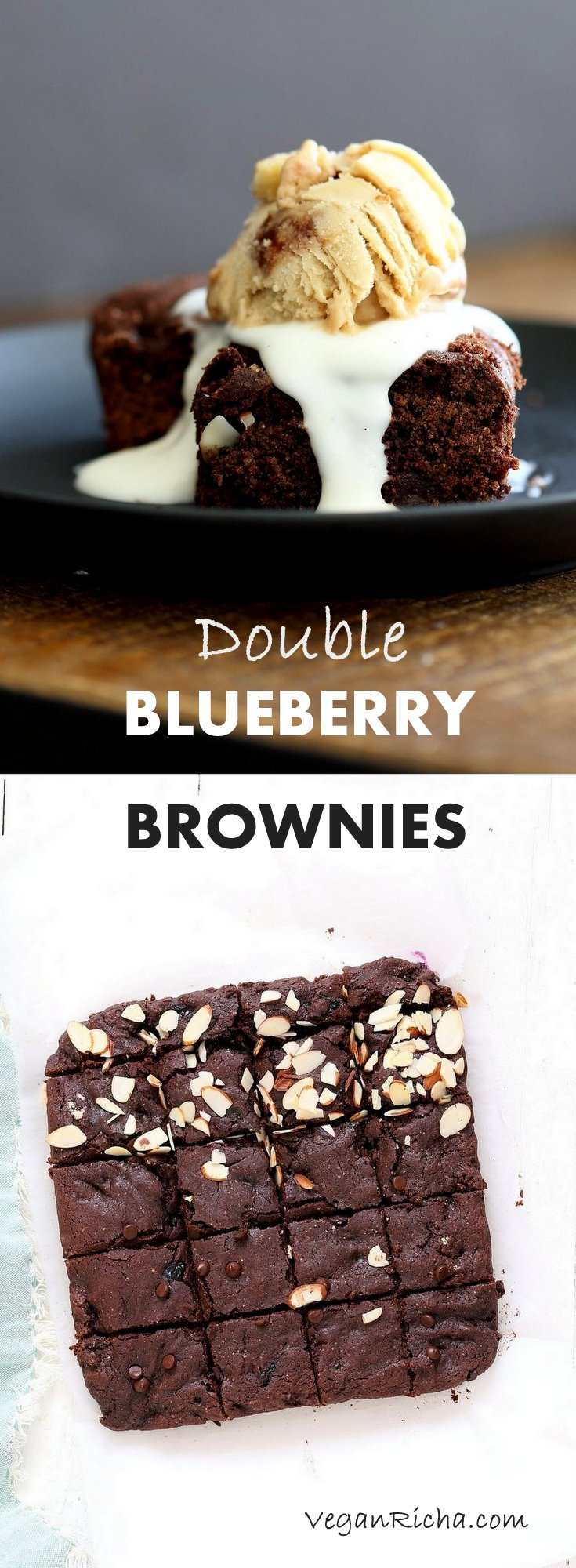 Double Blueberry Brownies. Summer Dark Chocolate Brownies with blueberries and almonds. Blueberries cooked to a compote in the wet and blueberries added with chocolate chips in the batter. #Vegan #Brownie #Recipe. Easily made #Glutenfree | VeganRicha.com