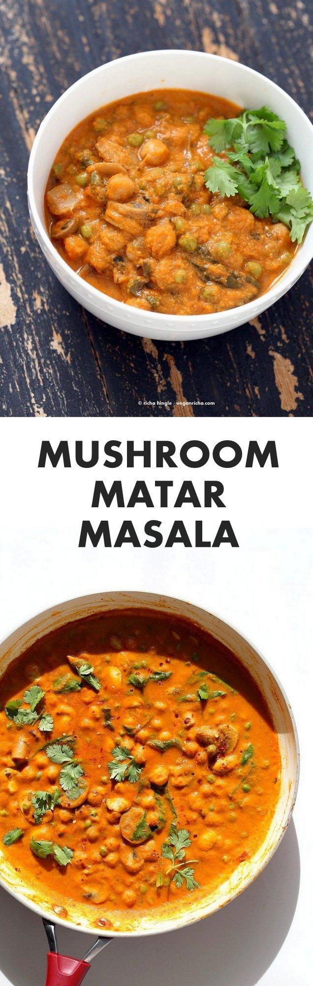 Mushroom Matar Masala. Mushrooms Peas Spinach in creamy tomato sauce. Mushroom Masala Recipe with Easy Blender Masala Sauce. Vegan Indian Gluten-free Soy-free | VeganRicha.com