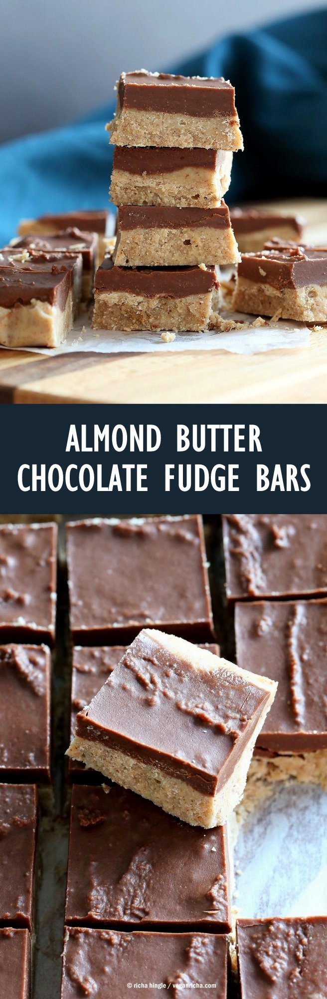 Chocolate Almond Butter Fudge Bars. Easy Vegan Fudge Recipe. Almond Butter or Peanut Butter Fudge. 3 Main ingredients! Nut butter, Coconut butter and maple syrup #Glutenfree #Soyfree #Vegan #Recipe | VeganRicha.com