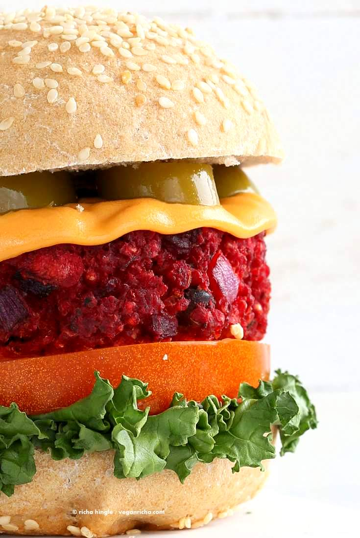 Kidney Bean Millet Beet Burger. Veggie Burgers with Beet, beans and millet (or quinoa). Bake or pan fry and serve with vegan cheese and garnishes of choice. Vegan Burger patties. Soyfree, gluten-free patties. | VeganRicha.com