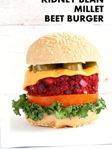 Kidney Bean Millet Beet Burger. Veggie Burgers with Beet, beans and millet (or quinoa). Bake or pan fry and serve with vegan cheese and garnishes of choice. Vegan Burger patties. Soyfree, gluten-free patties. | VeganRicha.com #glutenfree #veganricha #vegan