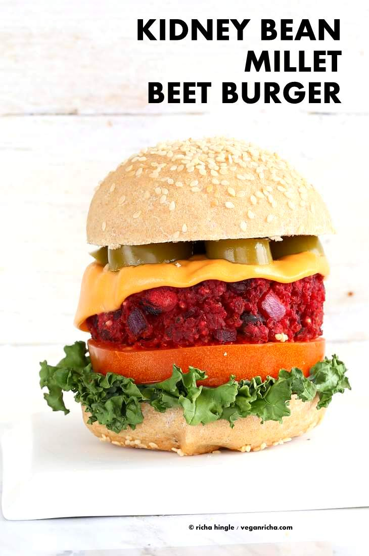 Kidney Bean Millet Beet Burger. Veggie Burgers with Beet, beans and millet (or quinoa). Bake or pan fry and serve with vegan cheese and garnishes of choice. Vegan Burger patties. Soyfree, gluten-free patties.   VeganRicha.com