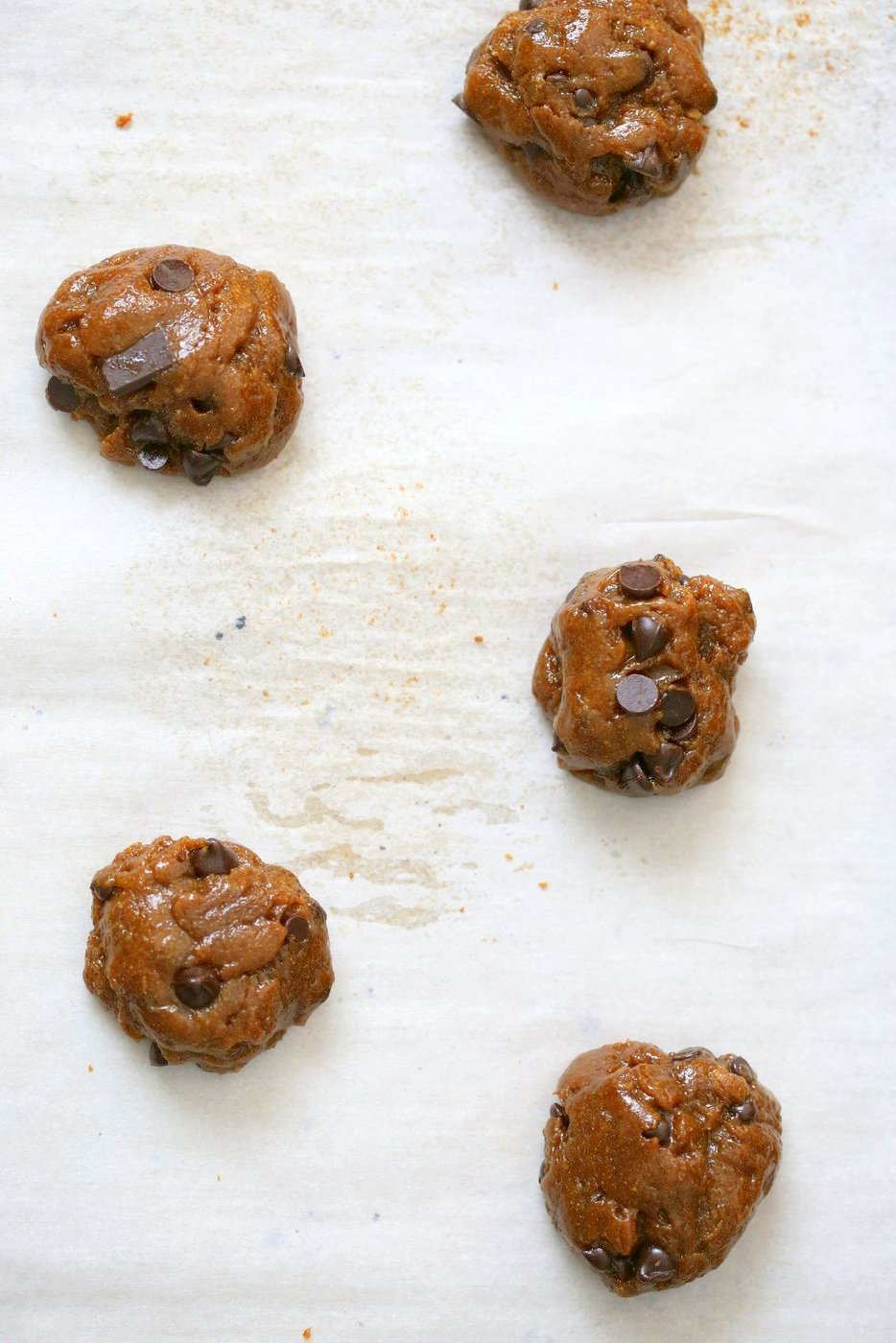 Chickpea Flour Chocolate Chip Cookies. Huge chewy and a perfect treat. These cookies need 1 Bowl, are grain-free, gluten-free vegan and can be made nut-free.   VeganRicha.com