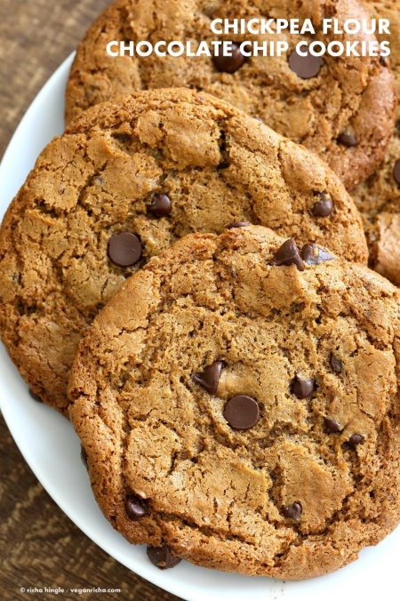 Chickpea Flour Chocolate Chip Cookies. Huge chewy and a perfect treat. These cookies need 1 Bowl, are grain-free, gluten-free vegan and can be made nut-free. | VeganRicha.com #glutenfree #veganricha #vegan