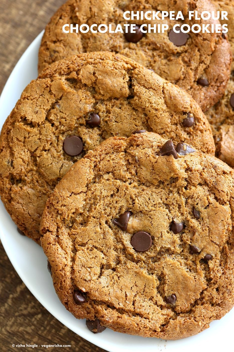 Chickpea Flour Chocolate Chip Cookies. Huge Chewy Cookies with Fiber and Protein. 3 gms of protein per cookie! These cookies need 1 Bowl, are grain-free, gluten-free vegan and can be made nut-free. | VeganRicha.com