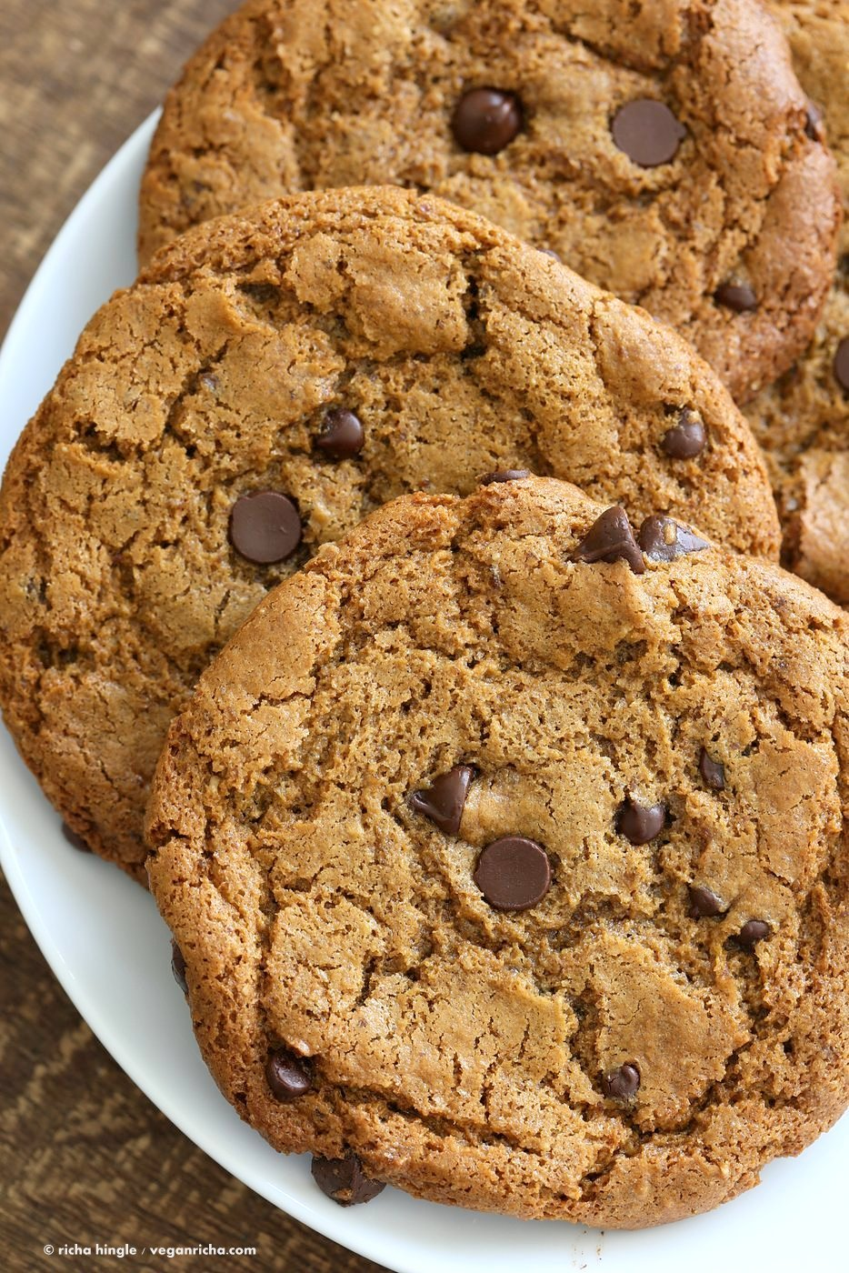 These huge Chickpea Flour Chocolate Chip Cookies are chewy and a perfect treat. These cookies need 1 Bowl, are grain-free, gluten-free vegan and can be made nut-free.   VeganRicha.com