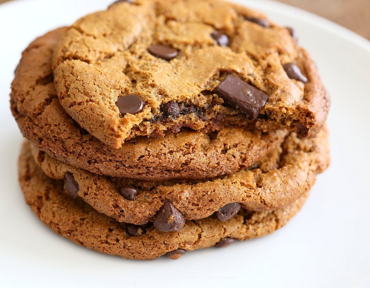 Chickpea Flour Chocolate Chip Cookies. Huge chewy and a perfect treat. These cookies need 1 Bowl, are grain-free, gluten-free vegan and can be made nut-free. | VeganRicha.com