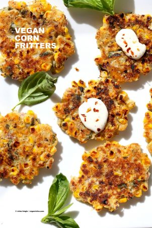 Basil Jalapeno Corn Fritters. Easy Gluten-free Vegan Corn Fritters with jalapeno, basil and black pepper. Serve with ketchup, vegan ranch or chutneys of choice. Soy-free Recipe. | VeganRicha.com #glutenfree #veganricha #vegan