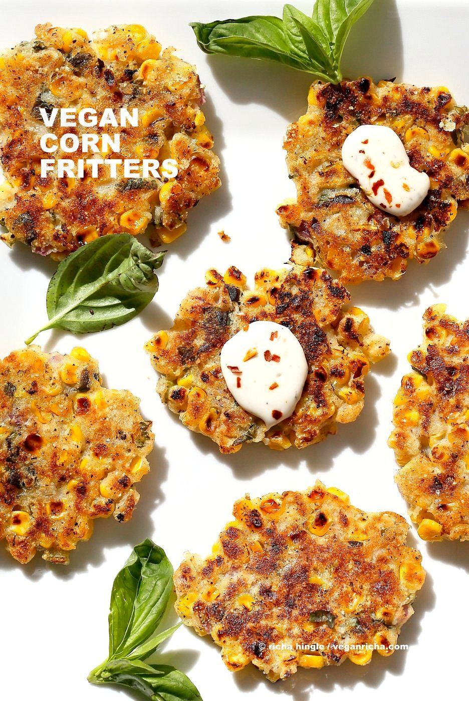 Basil Jalapeno Corn Fritters. Easy Gluten-free Vegan Corn Fritters with jalapeno, basil and black pepper. Serve with ketchup, vegan ranch or chutneys of choice. Soy-free Recipe. | VeganRicha.com