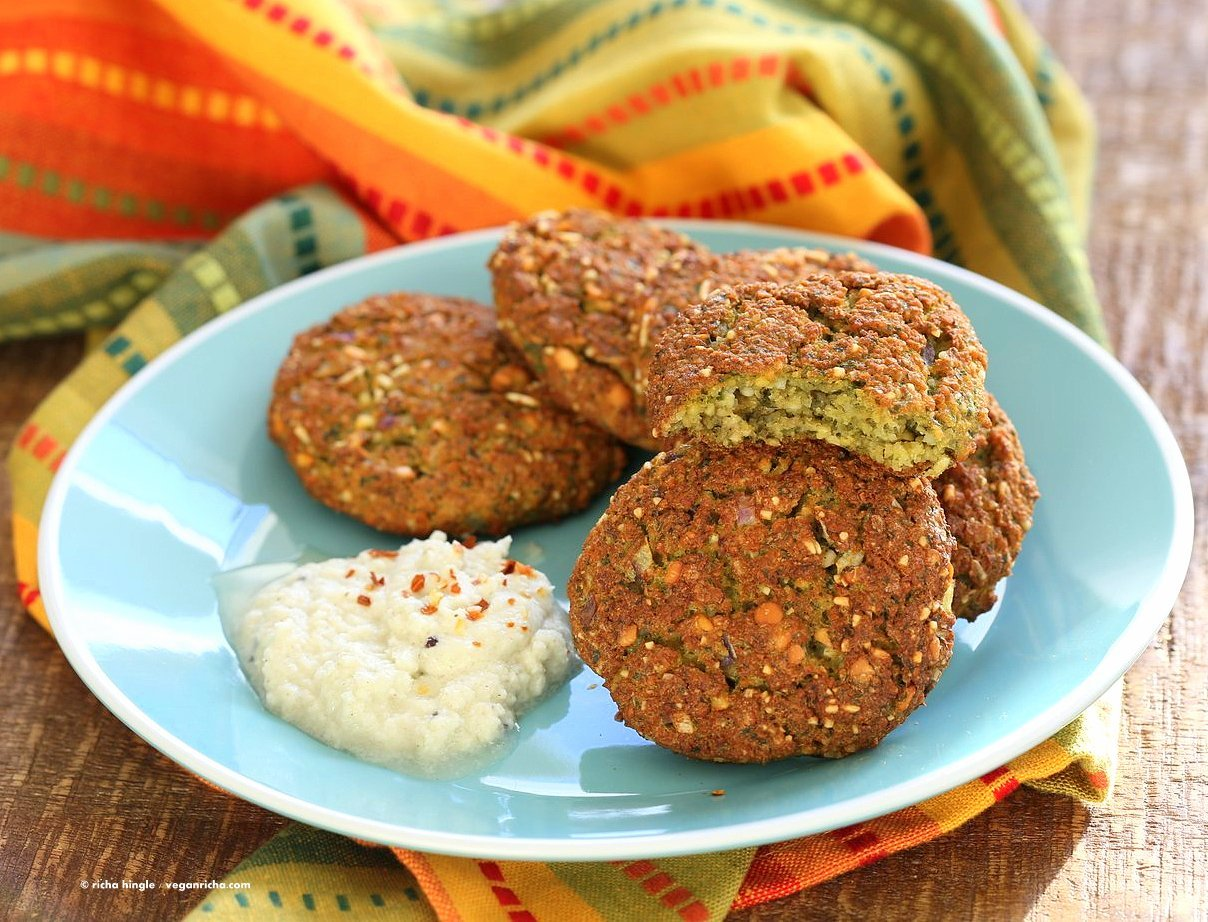 Baked Parippu Vada Recipe - Chana Dal Vada or Masala Vadai. Chana Dal (Split chickpea) Fritters. Easy fritters with curry leaves and ginger. Use other spices and lentils for variation. Vegan Gluten-free soy-free Recipe | VeganRicha.com
