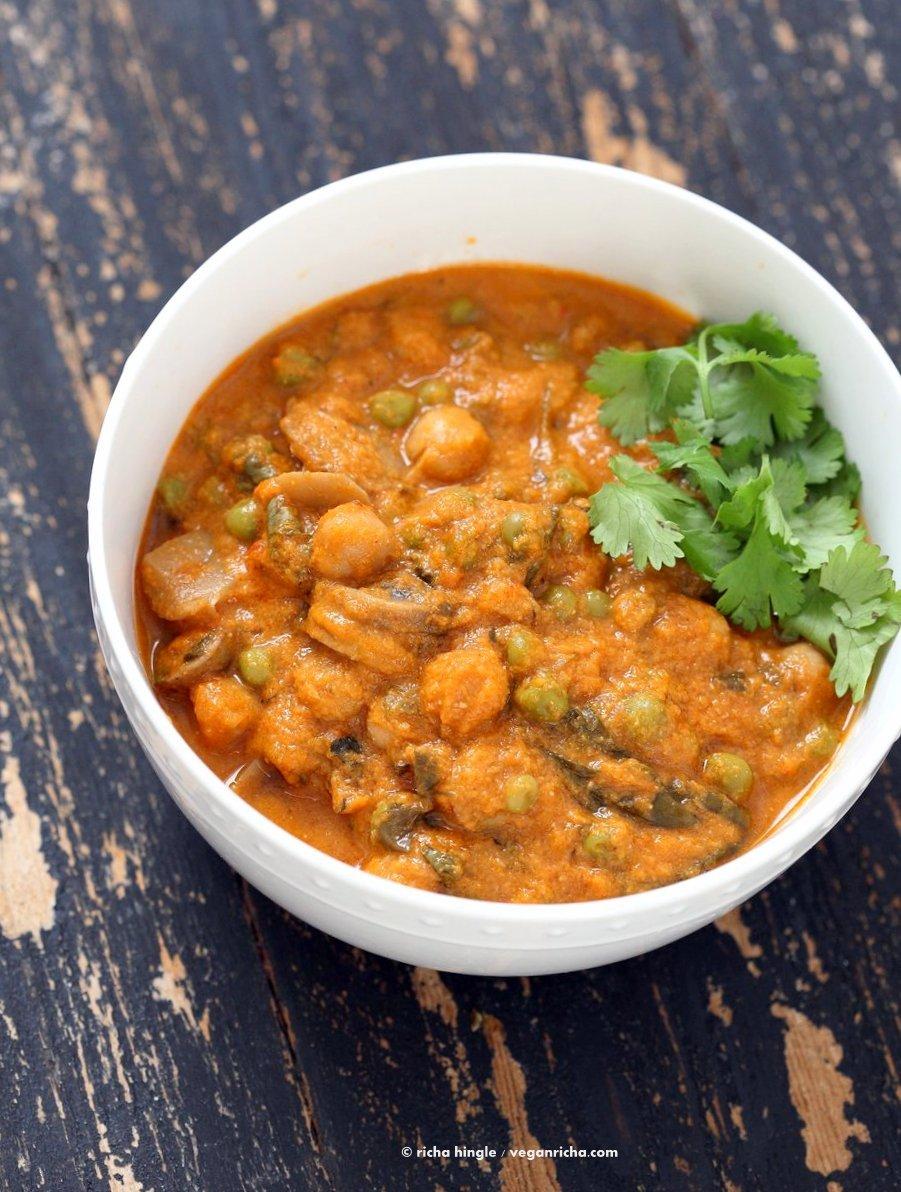Mushroom Matar Masala. Mushrooms and Peas in creamy tomato sauce. Easy Mushroom Masala Recipe. Vegan Gluten-free Soy-free. | VeganRicha.com