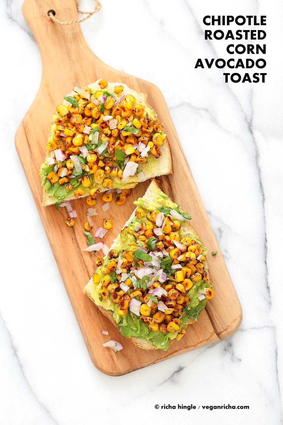 Chipotle Roasted Corn Avocado Toast. Summer corn roasted with Smoked parika, Chipotle and black pepper and layered over Avocado Toast. Vegan Avocado Recipe. | VeganRicha.com