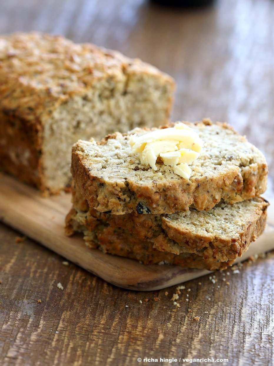 Vegan Gluten free Zucchini Bread Recipe. Moist, soft Zucchini Bread loaded with Oats, Chia seeds, Zucchini. Vegan Gluten-free gum-free Soy-free Recipe | VeganRicha.com