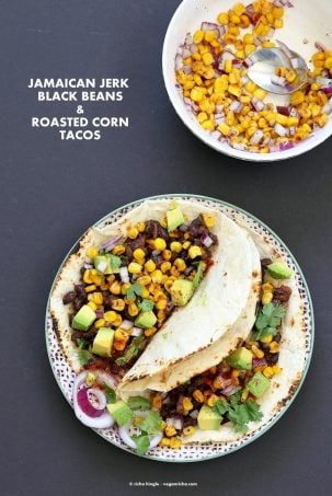 Jamaican Jerk Black Bean Tacos with Roasted Corn Salsa. 25 minute Tacos, full of flavor. Vegan Soy-free Recipe. Can be gluten-free with gf tortillas or soft tacos. | VeganRicha.com #glutenfree #veganricha #vegan