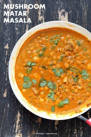 Mushroom Matar Masala. Mushrooms and Peas in creamy tomato sauce. Easy Mushroom Masala Recipe. Vegan Gluten-free Soy-free. | VeganRicha.com #glutenfree #veganricha #vegan