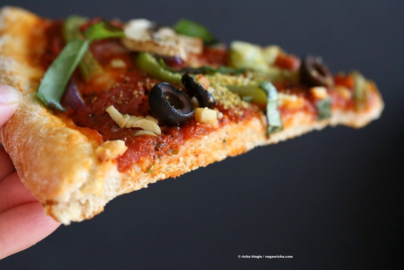 Easy Veggie Vegan Pizza with 20 minute Almost No Knead Crust! Pizza Sauce, Veggies, Mushrooms, Kalamata Olives baked to perfection. Dressed with Vegan Parmesan and fresh basil. Vegan Soy-free Recipe. Can be Nut-free | VeganRicha.com