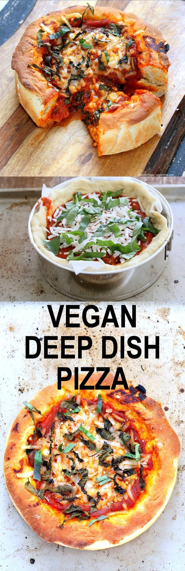 Vegan Deep Dish Pizza Recipe. Easy Deep Dish Pizza with from scratch crust, red pepper, spinach, vegan mozzarella and basil. Vegan Pizza Recipe with homemade 20 Minute Deep Dish Pizza Crust, almost no knead   VeganRicha.com