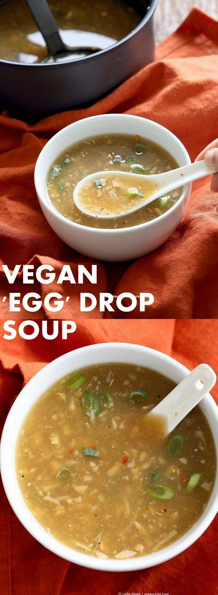 "Vegan Egg Drop Soup. Egg-less Egg drop soup with Jackfruit and Tofu. Soothing Chinese ""egg"" drop soup. Vegan Gluten-free Asian Recipe. 