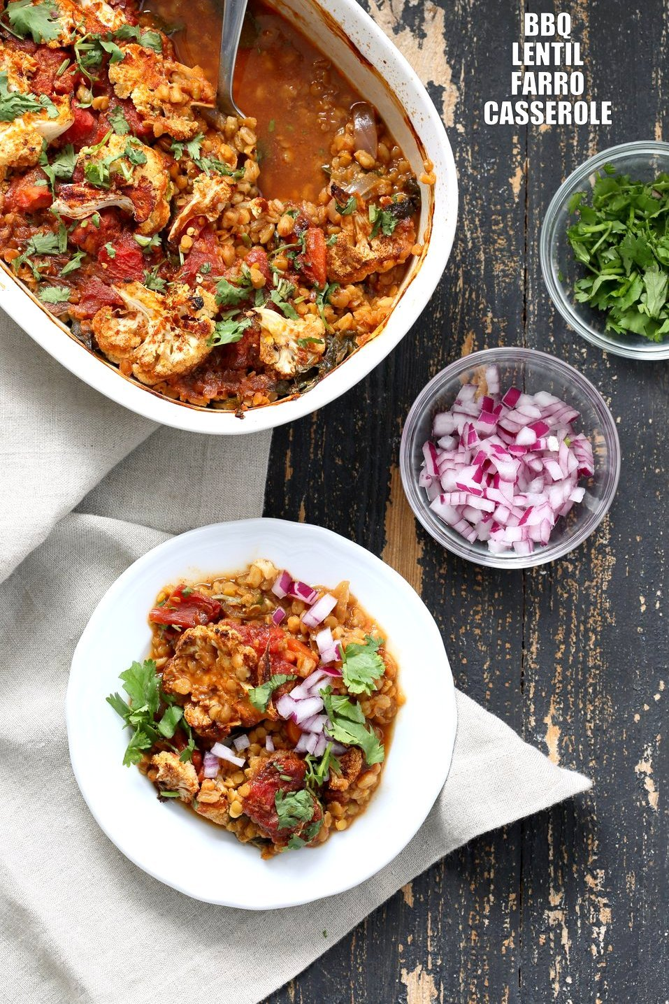 BBQ Lentil Farro Cauliflower Casserole. BBQ Casserole with Red Lentils, Farro, Veggies, Spinach, Cauliflower all layered and baked. Amazing Flavors! #Vegan #Nutfree #Recipe. Can be soyfree #Glutenfree #veganricha | VeganRicha.com