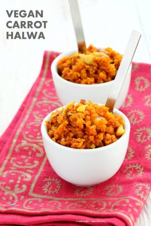 Vegan Carrot Halwa Recipe. Gajar Ka Halwa is a a dessert made with shredded carrots that are roasted with non dairy milk and cardamom to make a sweet melt in your mouth dessert. Vegan Gluten-free Soy-free Recipe | VeganRicha.com