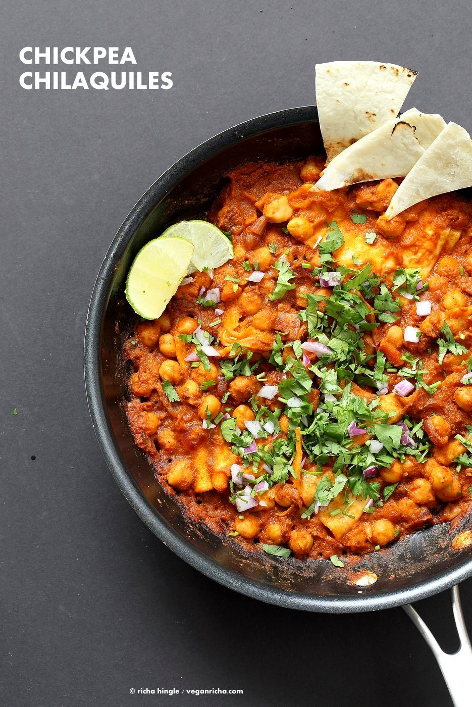 Vegan Chilaquiles with spiced Chickpeas. Spiced Chickpeas and crisped tortilla with easy red sauce. Easy Chilaquiles Recipe. Nut-free, soy-free. can be gluten-free.  VeganRicha.com