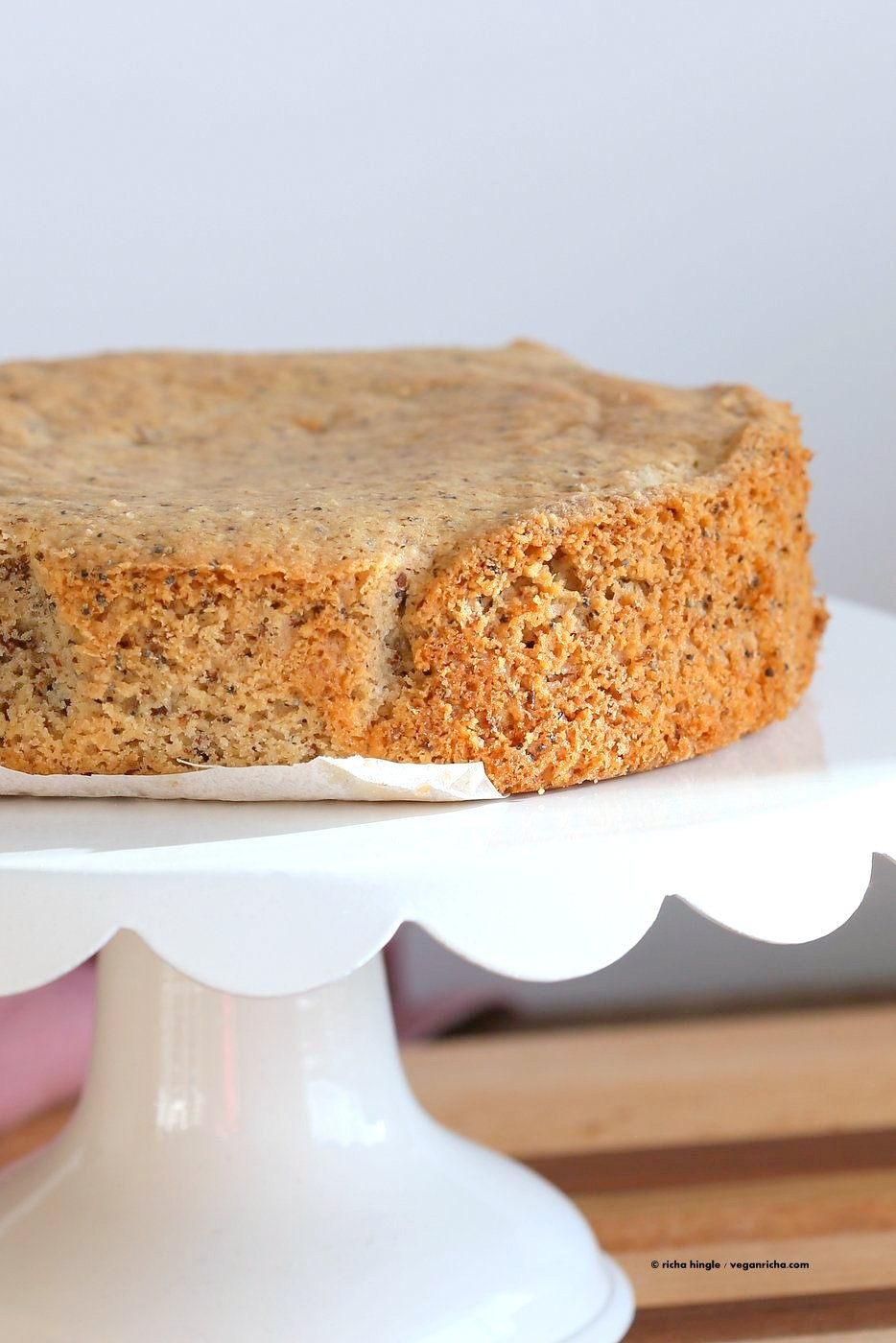 Vegan Almond Poppy Seed Cake. Gluten free Cake. Spongy Moist Cake with no Gum. Use as Sponge Cake without poppy seeds. Vegan Gluten-free Oil-free Recipe. | VeganRicha.com