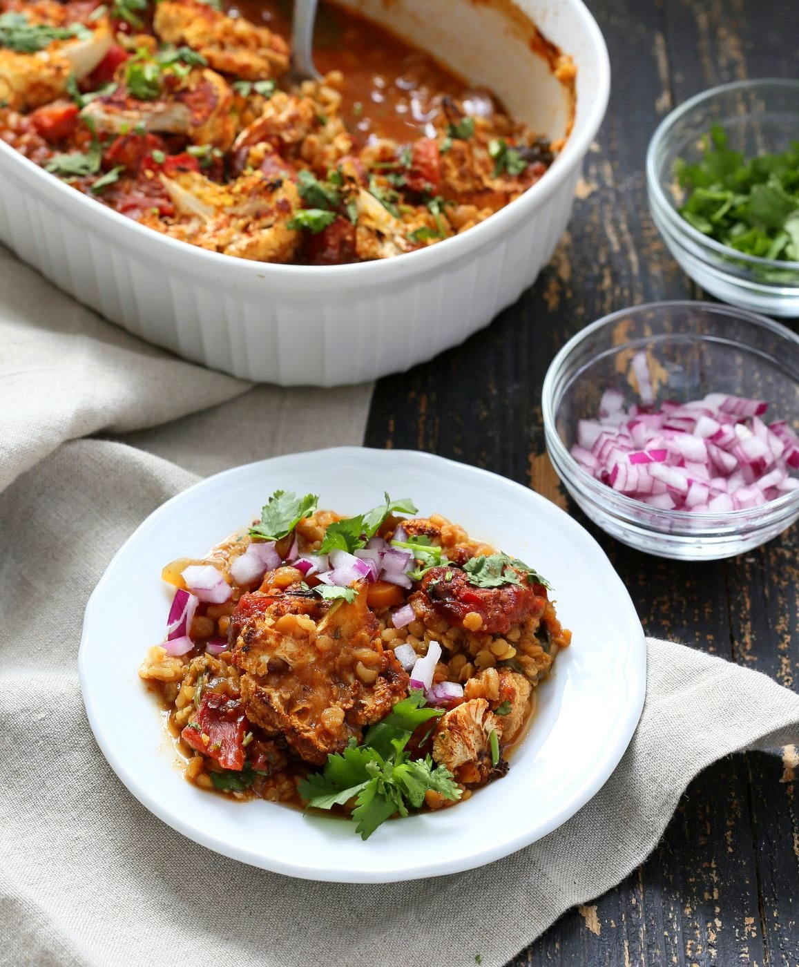 BBQ Lentil Farro Cauliflower Casserole. BBQ Casserole with Red Lentils, Farro, Veggies, Spinach, Cauliflower all layered and baked. Amazing Flavors! #Vegan #Glutenfree #Nutfree #Recipe. Can be soyfree #veganricha | VeganRicha.com