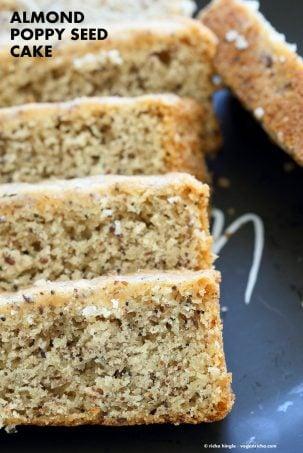 Vegan Almond Poppy Seed Cake. Gluten free Cake