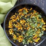 Corn Palak. Curried corn and Greens. Seasonal greens, chard and spinach with corn and spices make for a quick side, taco filling or addition to a salad. Vegan Gluten-free Soy-free Recipe. | VeganRicha.com #vegan #glutenfree #veganricha