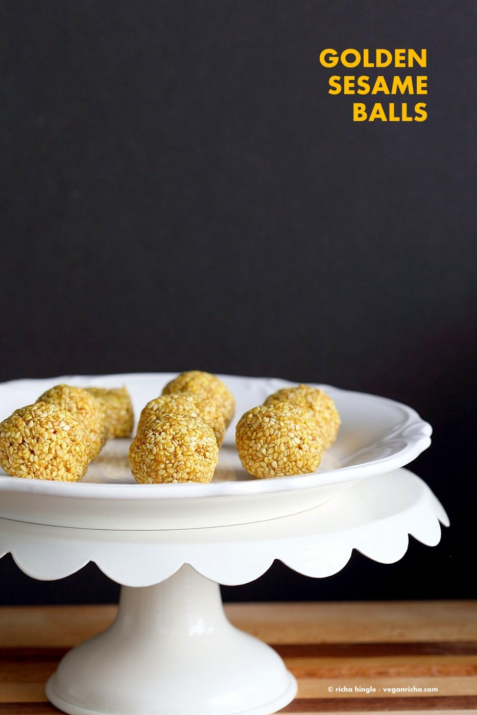 Golden Sesame Balls. Turmeric Toasted Sesame balls with Cinnamon and Cardamom. 5 Ingredient Sesame balls, or make them into bars or protein sesame bars. Vegan Gluten-free Nut-free Recipe | VeganRicha.com