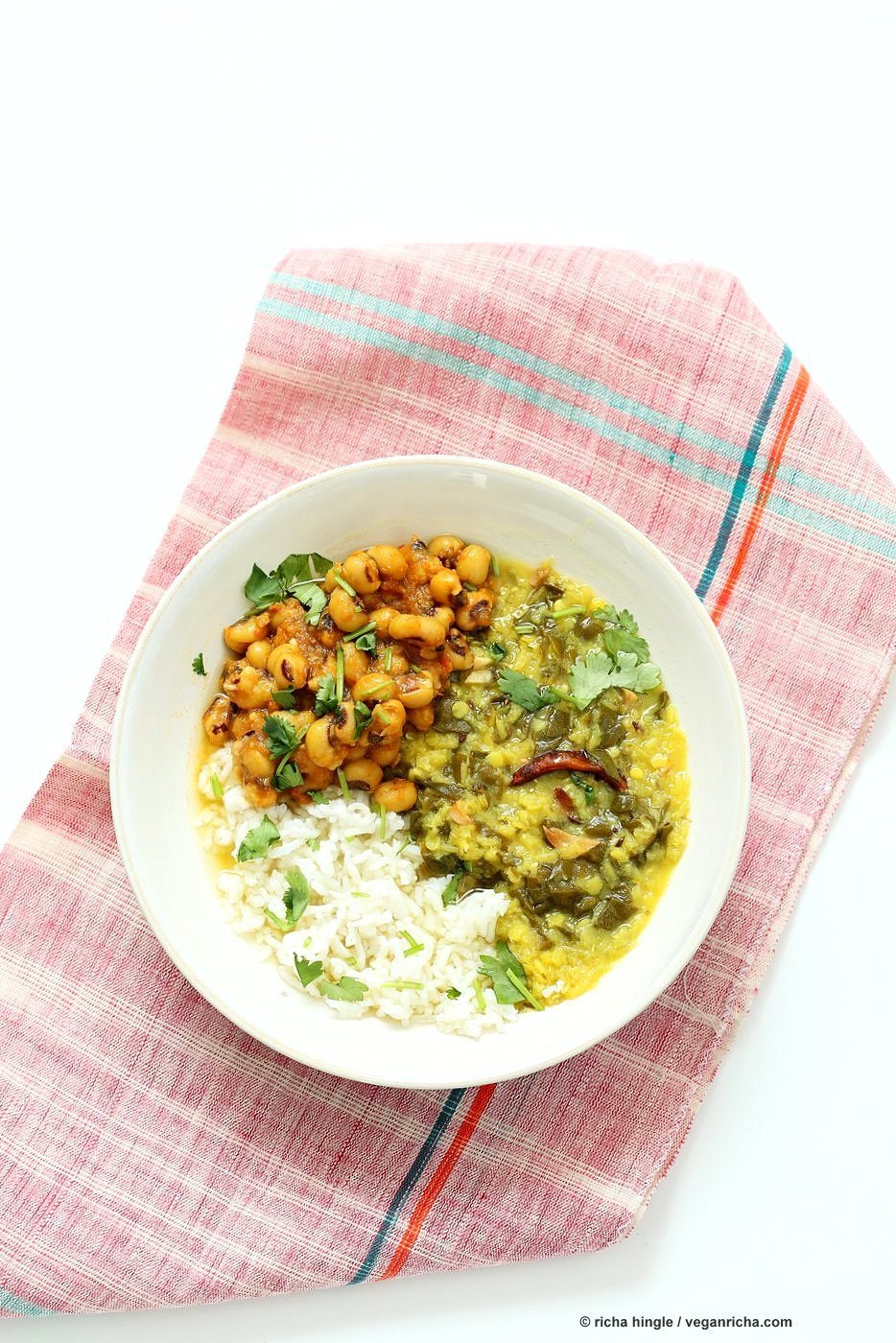 Spiced Lentil Chard Soup - Hariyali Dal. Creamy Red Lentils Cooked with Chard or other greens, tempered with whole spices. Easy weeknight Dahl. #Vegan #Glutenfree #Soyfree #Recipe | VeganRicha.com